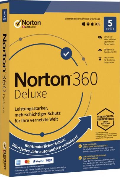 Norton 360 Deluxe, 50 GB Cloud-Backup, 5 Geräte 1 Jahr KEIN ABO
