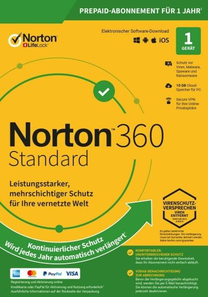 Norton 360 Standard, 10 GB Cloud-Backup, 1 Gerät 1 Jahr