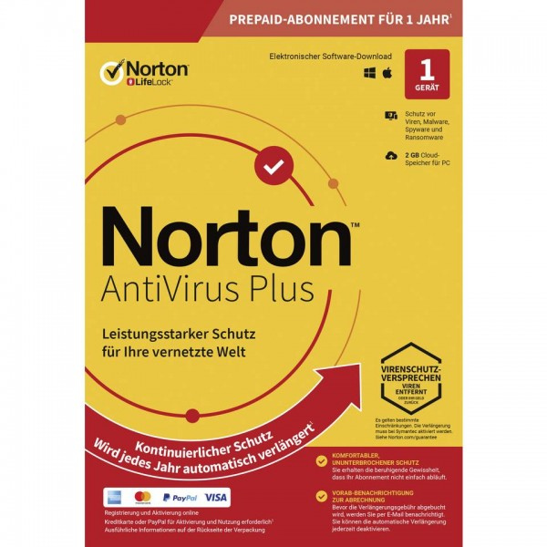 Norton Antivirus Plus, 2 GB Cloud-Backup, 1 Gerät 1 Jahr