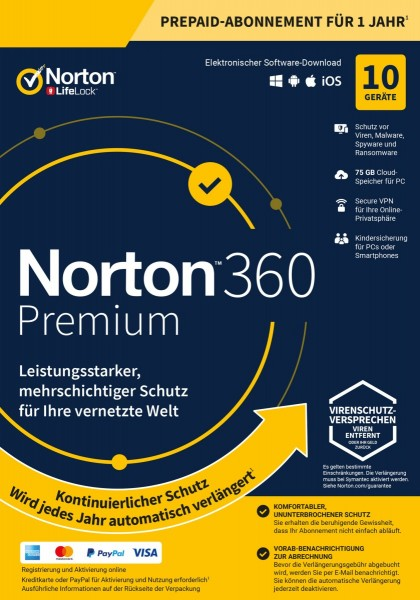 Norton 360 Premium, 75 GB Cloud-Backup, 10 Geräte 1 Jahr