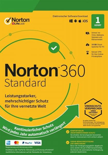 Norton 360 Standard, 10 GB Cloud-Backup, 1 Gerät 1 Jahr KEIN ABO